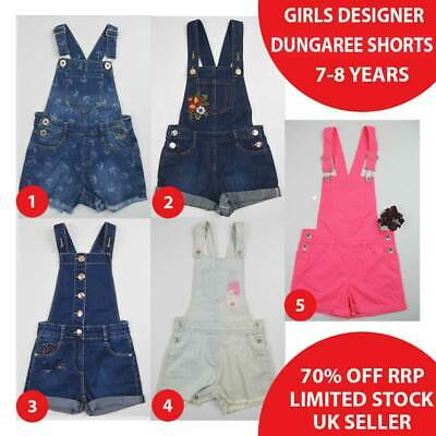 Girls Denim Dungaree Shorts Dungarees 7-8 Years Brand New 50% OFF(DS7-8-A)