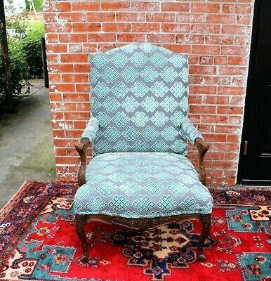 French Antique Louis XV Upholstered Armchair c. 1880s New Upholstery
