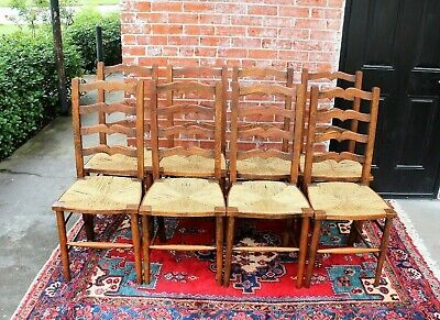 Set of 8 Country French Antique Oak Rush Seat Ladder Back Chairs