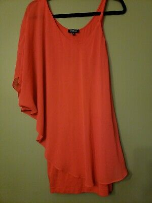 Bebe Dress Coral Sheer  Bodycon One Shoulder Dress XS 0 2