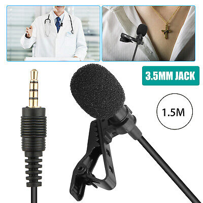 Clip On Lapel Microphone Handsfree Wired Condenser Mini Lavalier Mic 3.5mm Jack