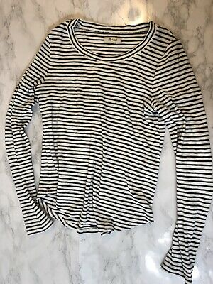 7ffca047 Madewell Womens T-Shirt Size Small Navy Blue Striped Scoop Neck Long Sleeve