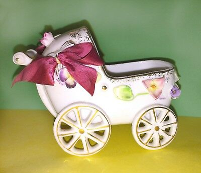 NAPCO BABY CARRIAGE PLANTER—MINT—VINTAGE ANTIQUE w BOWS—Nursery Vase—1950s