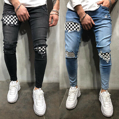Mens Skinny Jeans Ripped Slim Stretchy Denim Distress Frayed Biker Casual Jeans