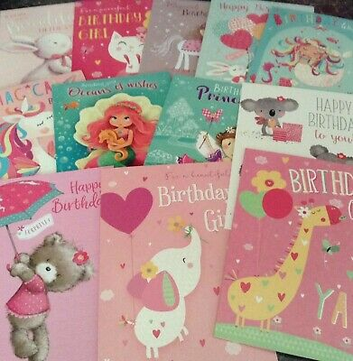 Mixed Pack Of 5 Children's Girls Birthday Cards Various Sets And Designs