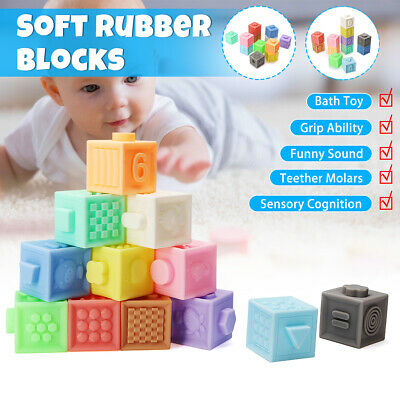 3D Rubber Baby Building Soft Blocks Squeeze Kid Children Educational Bath Toy