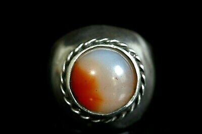 Beautiful Near Eastern Ancient Yemeni Carnelian Antique Solid Silver Ring  8 sz