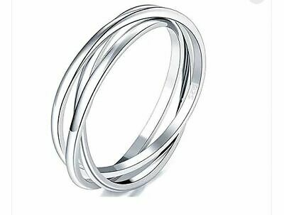 2116f5da2 925 Sterling Silver Ring Triple Russian Style Wedding Band Stackabl Size R