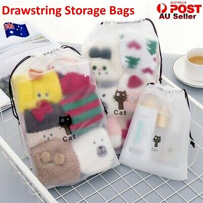 Women Travel Cosmetic Cat Bag Clear Drawstring Makeup Pouch Clothes Shoes Bags