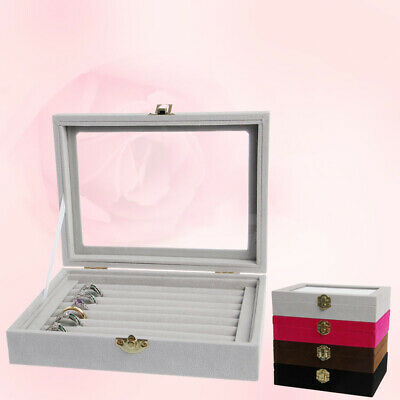 Jewelry Ring Earring Display Velvet Glass Organizer Box Tray Holder Storage Case