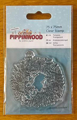 Christmas wreath Pippinwood Mini Clear Stamp Docrafts