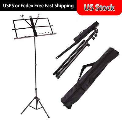 Glarry Handy Portable Adjustable Folding Music Stand Holder Mount Tripod w/ Bag