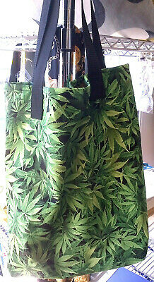 Cannabis Fabric Tote Bag, Hand Crafted, Lined Large, Green/Black