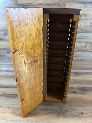 Vintage Solid Wood Custom Made Audio Cassette Storage Case Box Holds 20 Tapes
