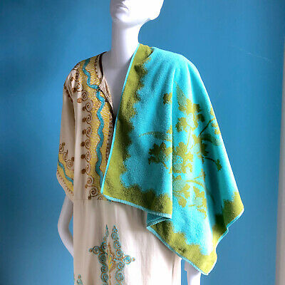 1970s Mod Turquoise & Green Terrycloth Bath Towel MCM Palm Springs Bathroom 60s