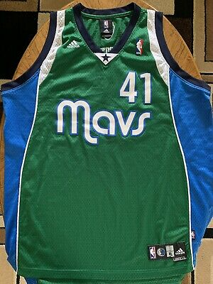 2acfdd63122 Adidas NBA Swingman Jersey Dallas Mavericks Dirk Nowitzki  41 XL Green Mavs  Vtg