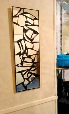 Contemporary Mirror ,BLACK Accent MIRROR , Mirror Artwork,Stain glass, gold trim