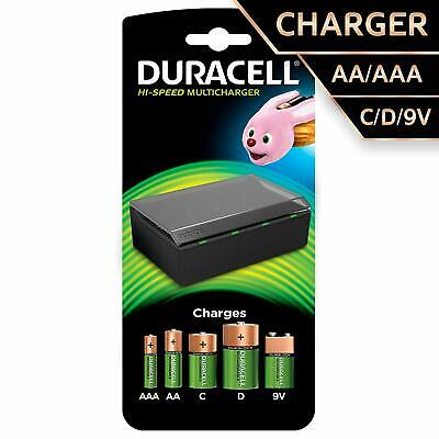 Duracell 1 Hr Battery Multi Charger Charges AA, AAA, C, D & 9V batteries UK Plug