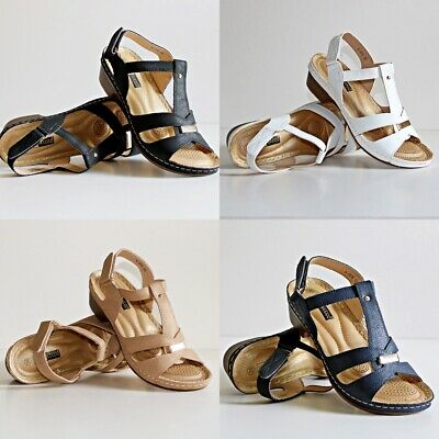 Womens Ladies Mid Low Heel Comfort Cushioned Sole Plus Sizes Sandals Shoes V-916