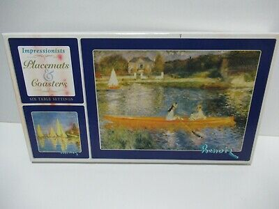 Set of 6 impressionist placemats and coasters Monet Renoir