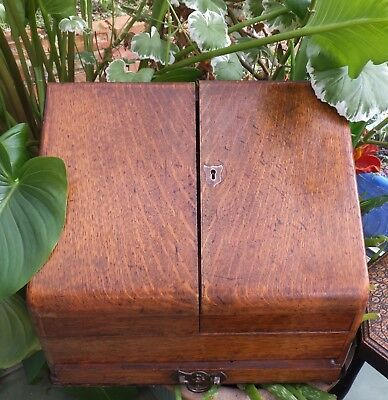 Antique Oak Writing Box Desktop Slanting Cabinet With Drawer Victorian Letters
