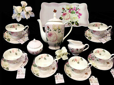 Teaware Gracie Extra Fine China Porcelain Pink Rose 16 Pc Tea Set For 6 Per-New!