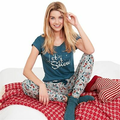 /'Let it Snow/' Christmas PJs pyjamas by Avon size UK 14//16 gift wrapped with bow