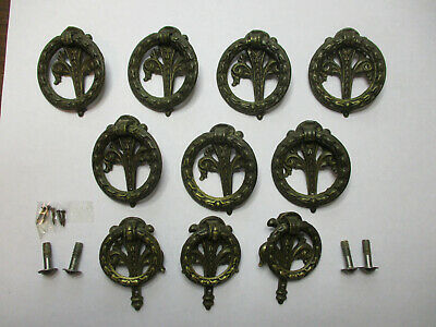 Antique Vintage Cast Brass Drawer Pulls- Wreath with Back Plate-Lot of Ten