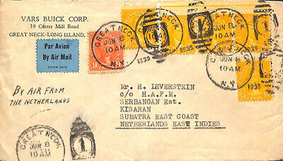United States of America 1935 Letter from Great Neck to Kisaran (by Airmail from
