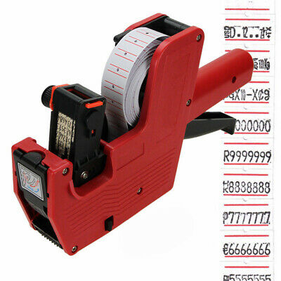 AU New MX-5500 8 Digits EOS Price Tag Gun + White w/ Red Lines Labels + 1 Ink