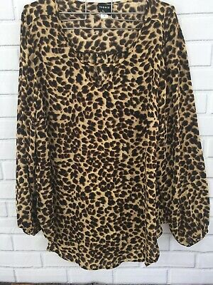 Torrid Animal Print Hi Lo Top Size 2 Black Brown Leopard Keyhole Semi Sheer