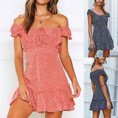 Women Lace Up Sexy Elastic Mini Dress Summer Chic Off Shoulder Spots Sundress