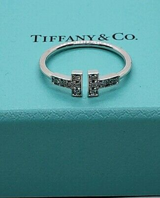 Tiffany&Co T Wire Ring With Diamonds in 18K White Gold. New with packaging!!!