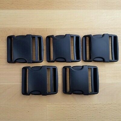 2 Inch Side Release Black Plastic Buckles- Set of 5- UTX Flex Stealth