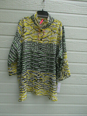 NWT IC by Connie K Multi Color Burnout 3/4 Ruched button Sleeve Top SZ 1X $228
