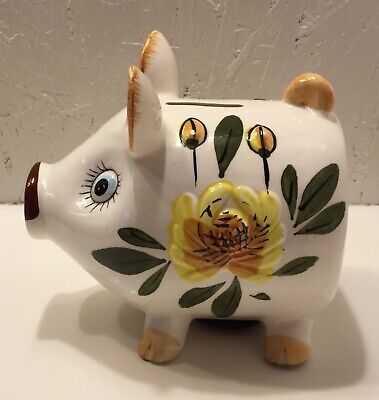 Vintage Ceramic Piggy Bank Floral Design