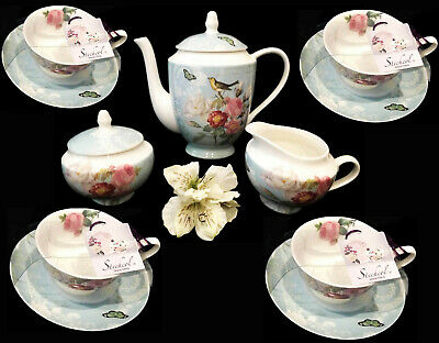 Teaware Gracie Extra Fine China Porcelain Pink Rose 11 Pc Tea Set For 4 Per-New!
