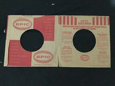 Lot 2 EPIC 50's (Two Styles) ORIGINAL Company Sleeves 78rpm Vinyl Records NICE