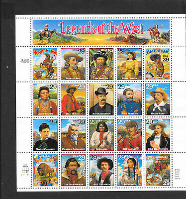 "Stamps, US Scott 2869 ""Legends of the West"" 20 stamps @ 29¢ ea. circa 1994"