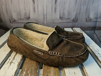 b53dfde8dae WOMENS UGG SLIPPERS shoes 10 leather suede ansley 3312 brown UGGs tan  moccasins