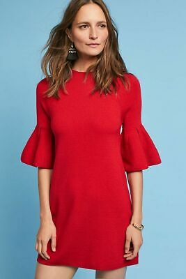 e896cdfaae4b NWT Anthropologie Ruffle-Sleeve Mock Neck Tunic by Knitted & Knotted sz XL  RED