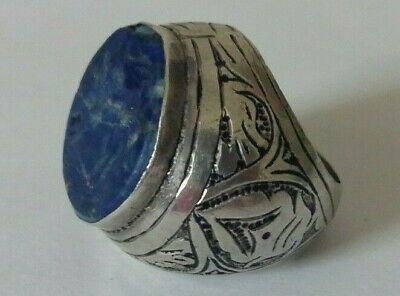 Medieval Style Middle Eastern Islamic Intaglio Seal Ring Silver Lapis Lazuli 10