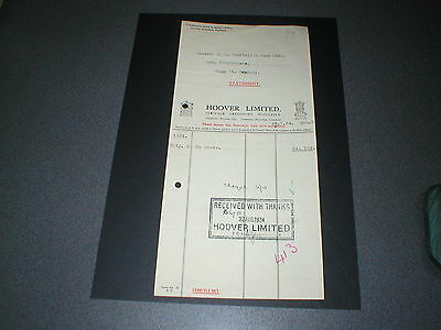 1934 Hoover Limited, Perivale, Greenford, Middlesex, Vintage Receipt
