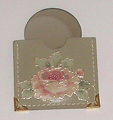 Choni Handcrafted Floral Design Leather Pouch With Round Purse Mirror - New