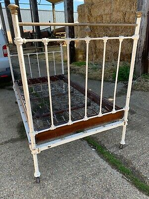 Antique Vintage White Cast Iron Brass Bed Small Double With Staples Sprung Base
