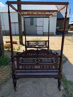 Antique Oak 4 Poster Double Bed Staples Sprung Base Vintage Country Chic