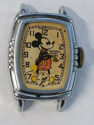 1930s Ingersoll Pink Floyd Mickey Mouse Wrist Watch Wind Up 5 Notch Case To Fix