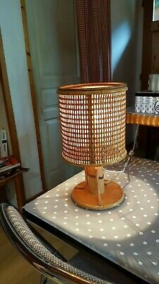 lampe  a  posé  chevet ambiance  rotin bambou cannage vintage  60/70