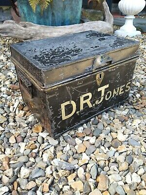 A Victorian Metal Deed Box D.r.jones Jones Dr Jones Military Box