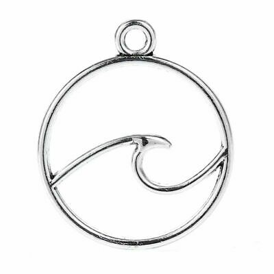 35PCS Tibetan Silver Wave Charms Pendant DIY Necklace Jewelry Crafts 15*12MM